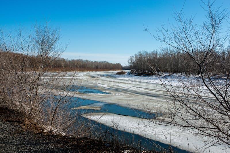 La primavera, neve fonderà molto presto il fiume di Ural per ottenere sbarazzata fotografia stock libera da diritti