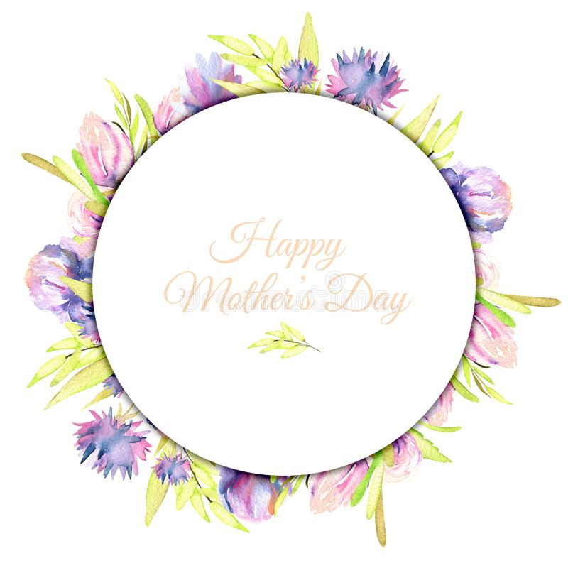 La primavera púrpura de la acuarela florece el marco, pintado a mano en un fondo blanco ilustración del vector