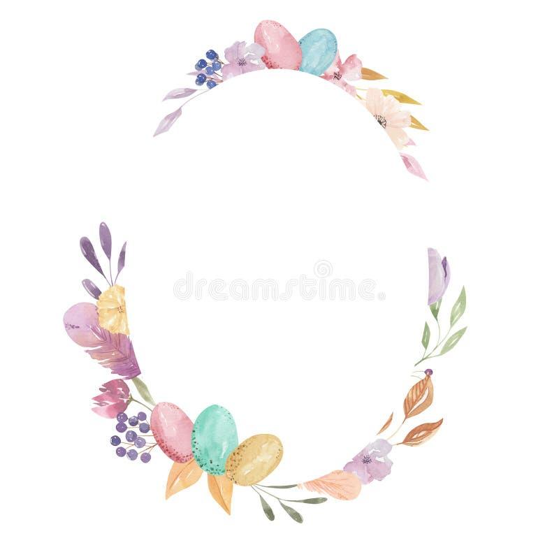 La primavera pastello della struttura delle uova di Pasqua di rettangolo della piuma ovale dell'acquerello lascia floreale rosa illustrazione vettoriale