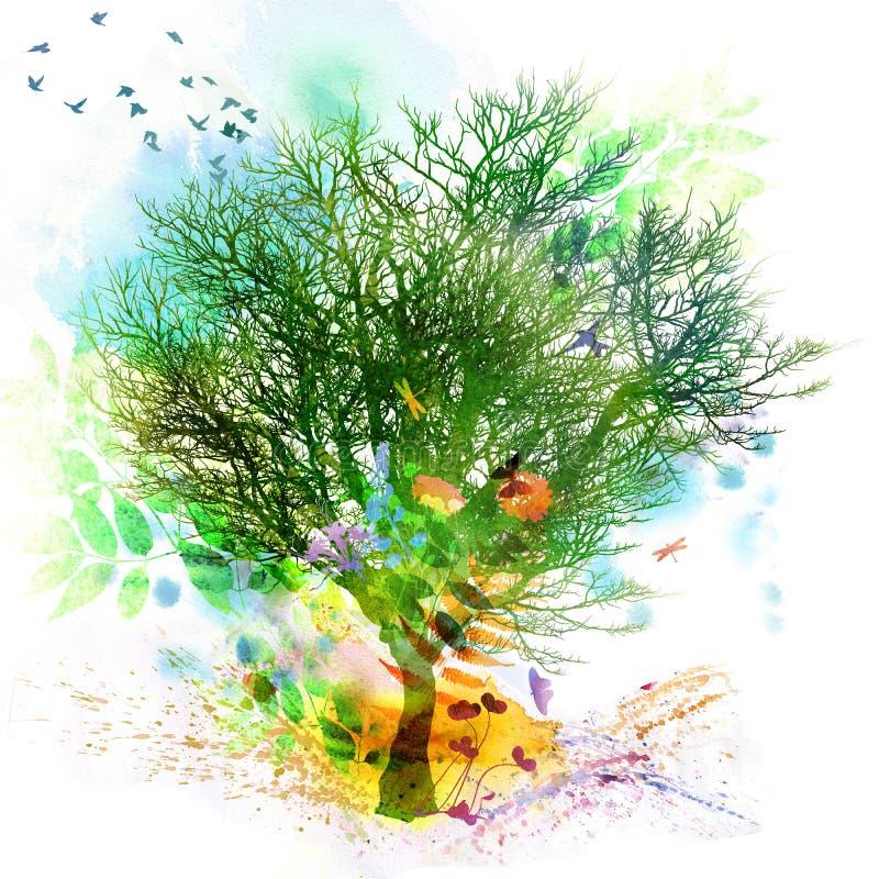 La primavera y el verano florales diseñan, pintura de la acuarela stock de ilustración