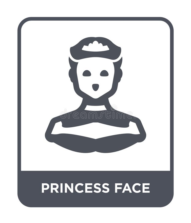 la princesa hace frente al icono en estilo de moda del diseño la princesa hace frente al icono aislado en el fondo blanco icono d libre illustration