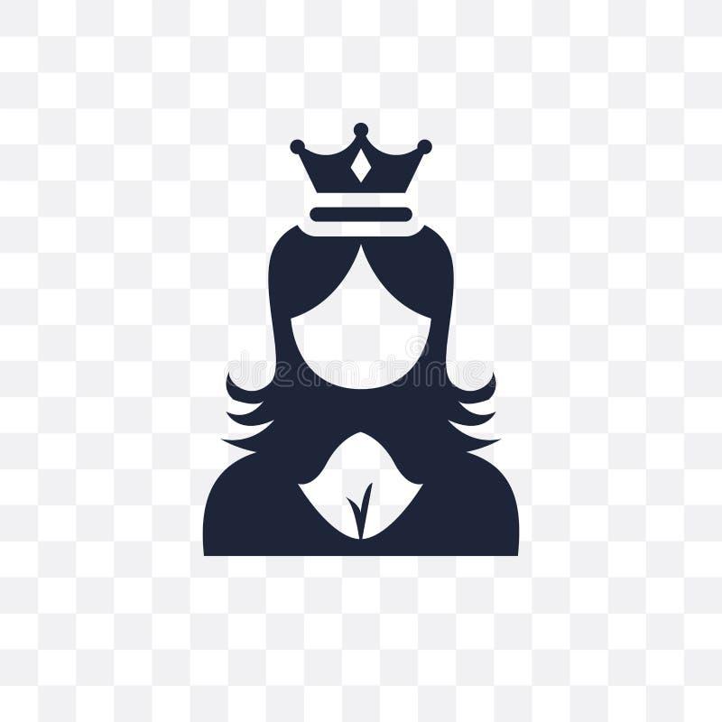 La princesa hace frente al icono transparente Diseño del símbolo de la cara de la princesa de ilustración del vector