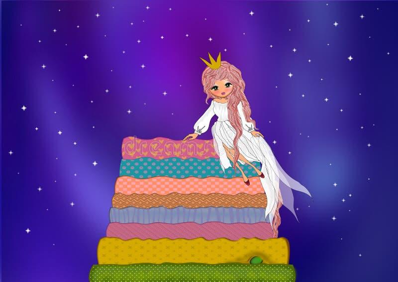 La princesa y el guisante en fondo del cielo nocturno stock de ilustración