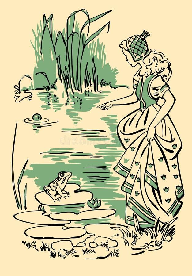 La princesa y la rana stock de ilustración