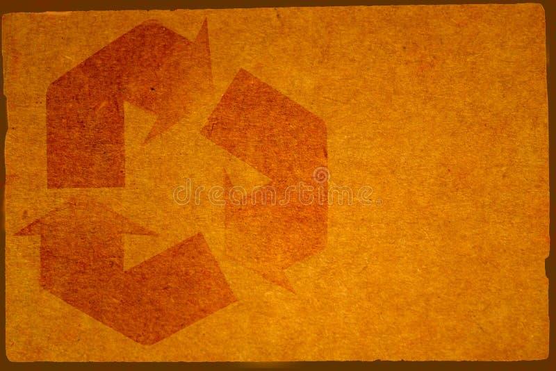 La priorità bassa del cartone con ricicla il simbolo immagini stock