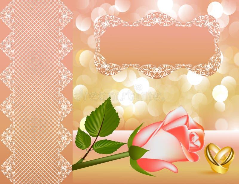 La priorità bassa di cerimonia nuziale con è aumentato della perla del nastro illustrazione vettoriale