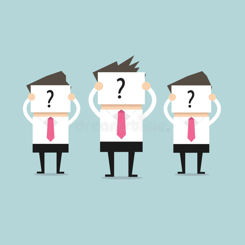 La prise d'homme d'affaires signe avec des points d'interrogation, jusqu'à présent incapables de déterminer qui elles sont illustration libre de droits