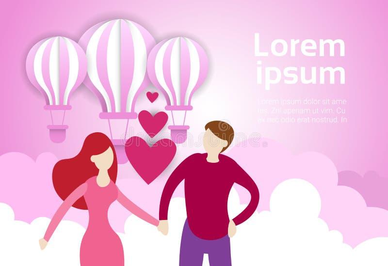 La prise de couples remet des ballons à air à l'arrière-plan rose de ciel avec l'espace Valentine Day Banner de copie illustration stock