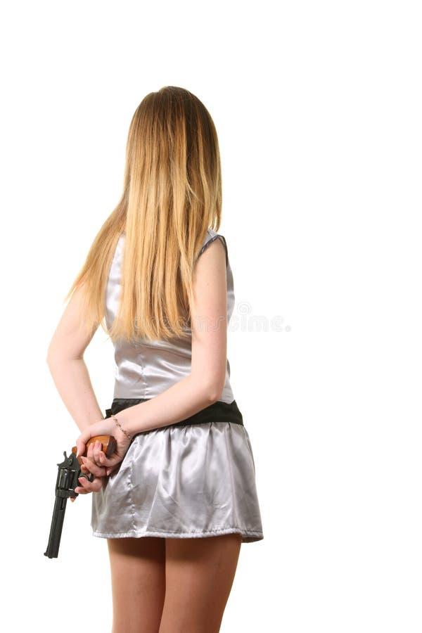 La prise de femme un revolver image libre de droits