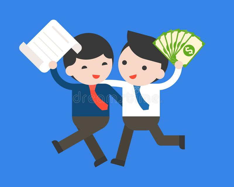 La prise heureuse de deux hommes d'affaires un contrat et un argent notent la banque, busin illustration de vecteur