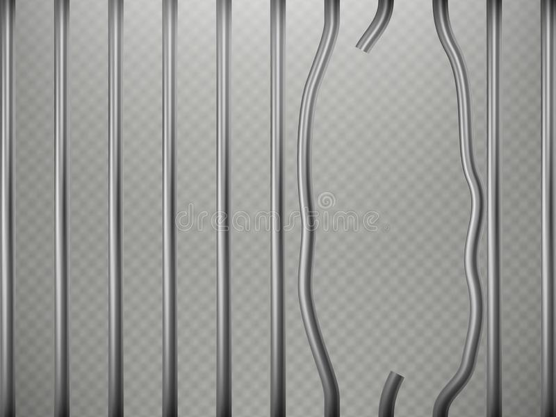 La prisión rota obstruye el efecto del primero plano, aislado sobre fondo transparente Rejilla de acero EPS 10 ilustración del vector
