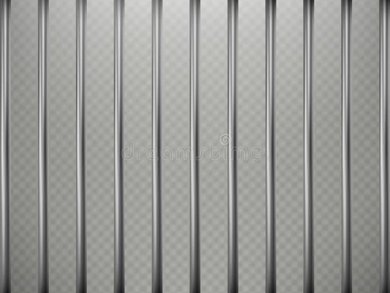 La prison barre l'effet de premier plan, d'isolement sur le fond transparent Grille en acier ENV 10 illustration libre de droits