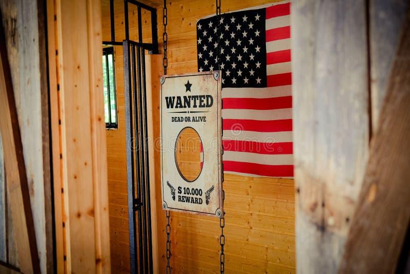 La prison du Texas a voulu le signe avec le drapeau américain images libres de droits