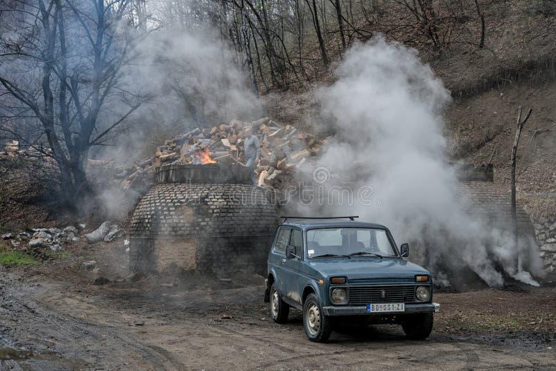 La producción de carbón de leña de una manera tradicional en el bosque imágenes de archivo libres de regalías