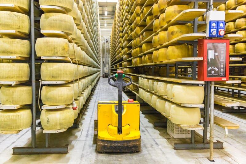 La producción de la quesería del parmesano deja de lado con el queso i del envejecimiento imagen de archivo libre de regalías