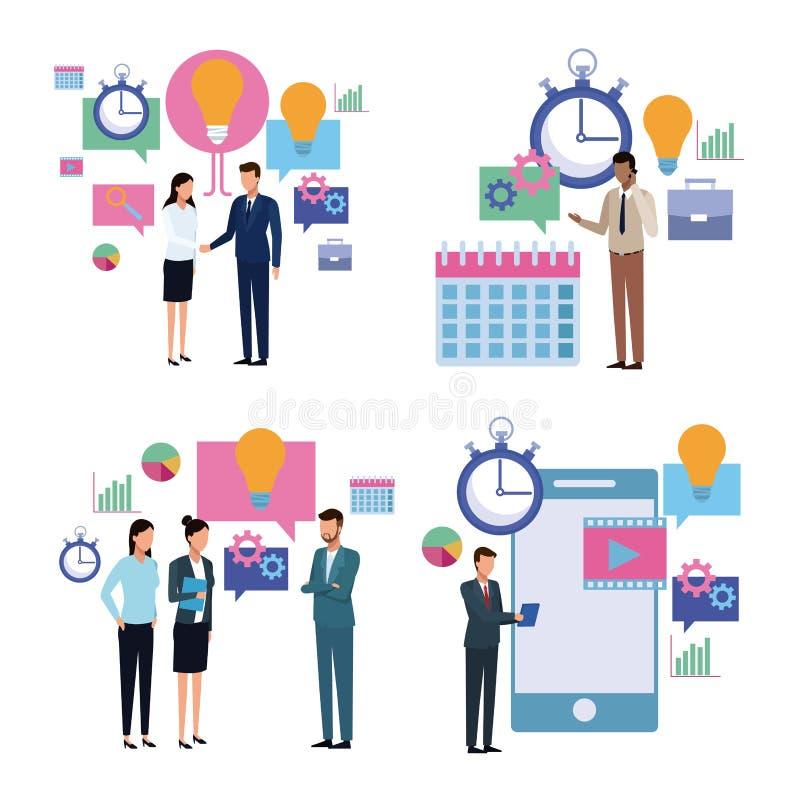 La productividad del negocio equipa la historieta stock de ilustración