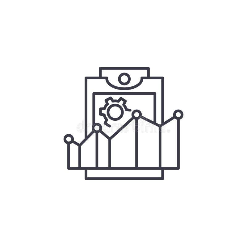 La productividad valora concepto linear del icono La productividad valora la línea muestra del vector, símbolo, ejemplo stock de ilustración