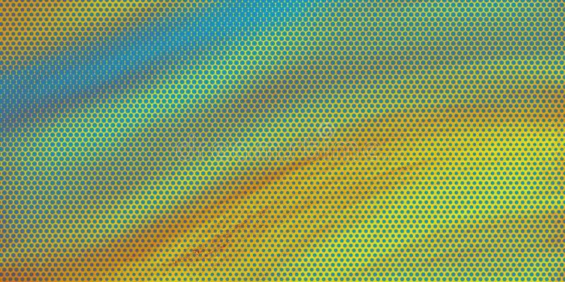 La progettazione Artsy del fondo con effetto di semitono del modello di Pop art blu e giallo con struttura e colori scorrenti di  illustrazione vettoriale
