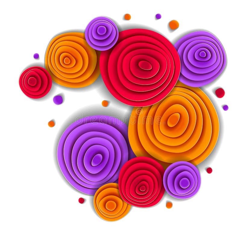 La progettazione con i fiori in carta ha tagliato lo stile, illustrazione floreale di vettore Invito di nozze o saluto romantico illustrazione vettoriale