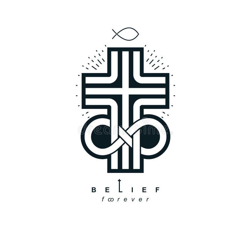 La progettazione creativa di simbolo di vettore eterno di Dio si è combinata con il infi illustrazione vettoriale
