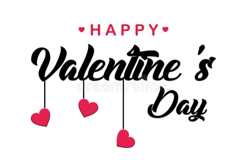 La progettazione d'iscrizione scritta a mano felice di festa del giorno di biglietti di S. Valentino alla cartolina d'auguri, man illustrazione vettoriale
