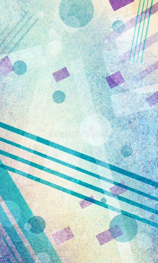 La progettazione del fondo di astrattismo, i cerchi geometrici di stile di arte moderna e le forme a strisce progettano illustrazione di stock