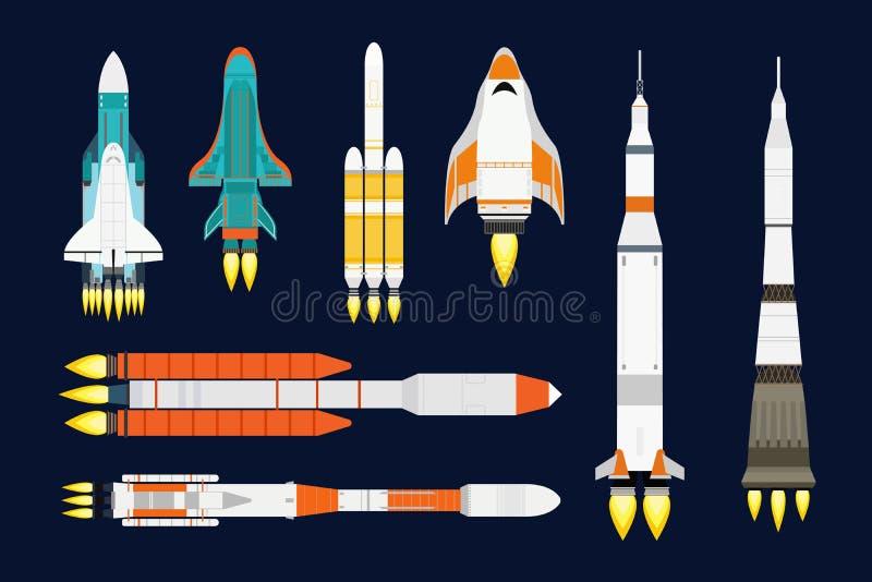 La progettazione del fumetto del razzo della nave della tecnologia di vettore per il prodotto startup dell'innovazione e lo spazi illustrazione vettoriale