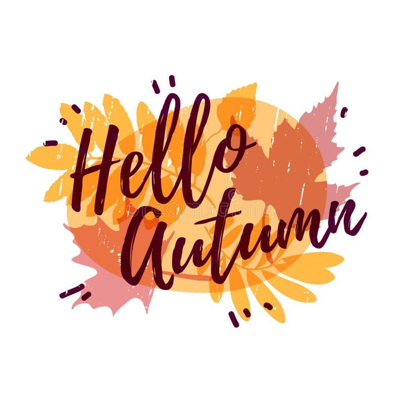 La progettazione del modello del logos, i bolli, distintivi, identifica ciao, autunno Insegna di stagione di caduta sull'erba aut illustrazione vettoriale