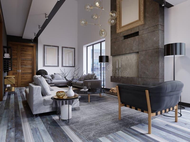 La progettazione del salone è molto spaziosa con le grandi finestre, pareti grige e bianche, parquet e mobilia grigia e un second illustrazione vettoriale