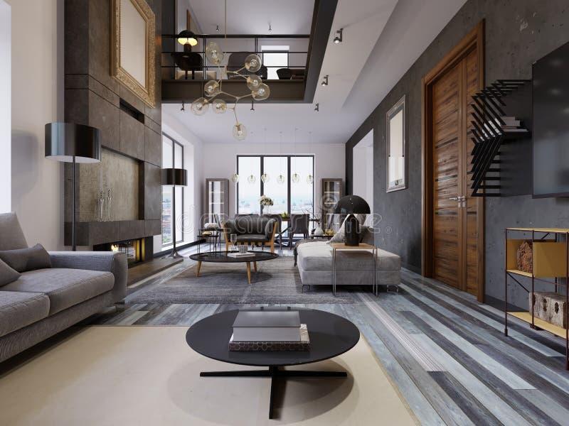 La progettazione del salone è molto spaziosa con le grandi finestre, pareti grige e bianche, parquet e mobilia grigia e un second royalty illustrazione gratis