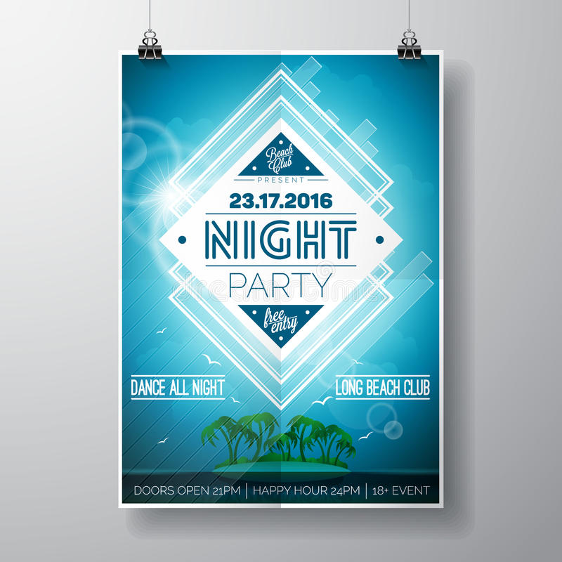 La progettazione dell'aletta di filatoio del partito della spiaggia dell'estate di vettore con gli elementi tipografici e lo spaz illustrazione vettoriale
