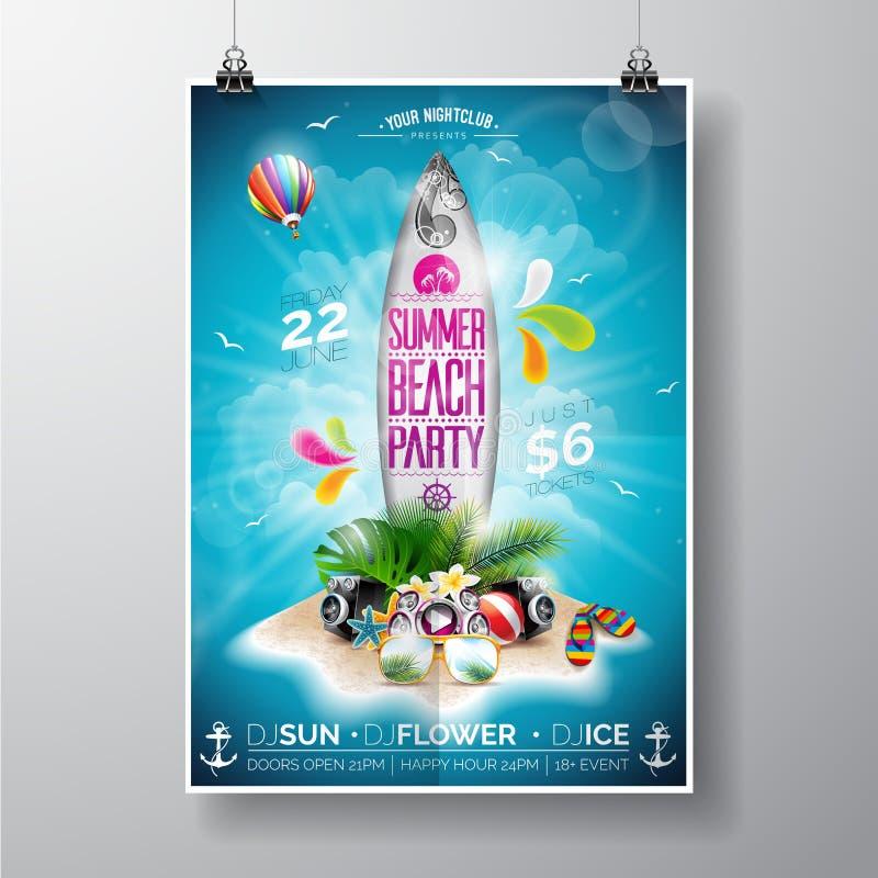La progettazione dell'aletta di filatoio del partito della spiaggia dell'estate di vettore con il bordo di spuma e l'isola di par illustrazione di stock