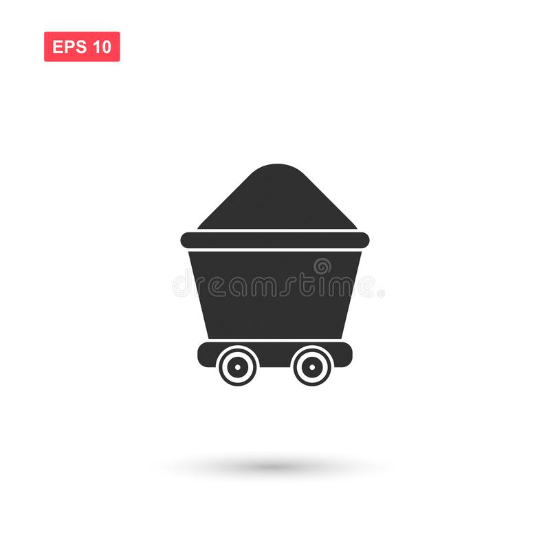 La progettazione dell'icona di vettore del carrello della miniera ha isolato illustrazione di stock
