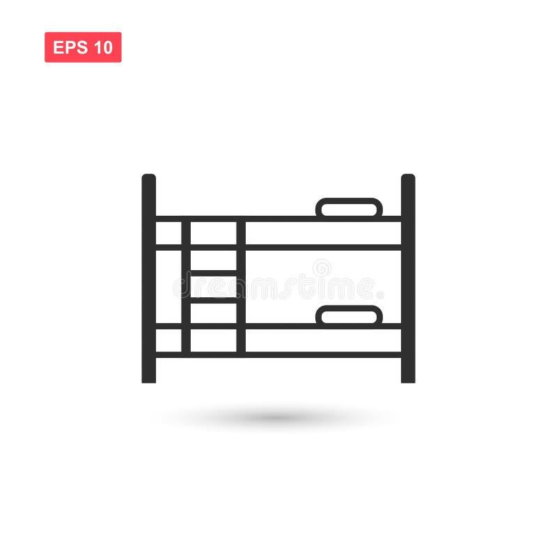 La progettazione dell'icona di vettore del letto di cuccetta ha isolato 2 illustrazione vettoriale