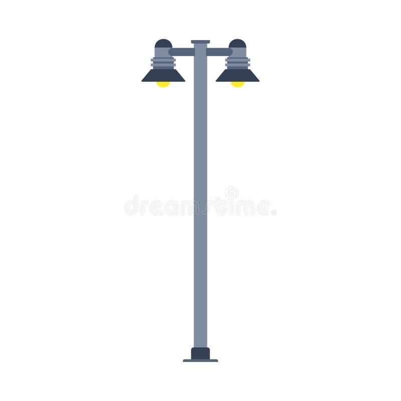 La progettazione dell'icona di vettore dell'iluminazione pubblica ha isolato bianco Siluetta della citt? della lanterna della lam royalty illustrazione gratis