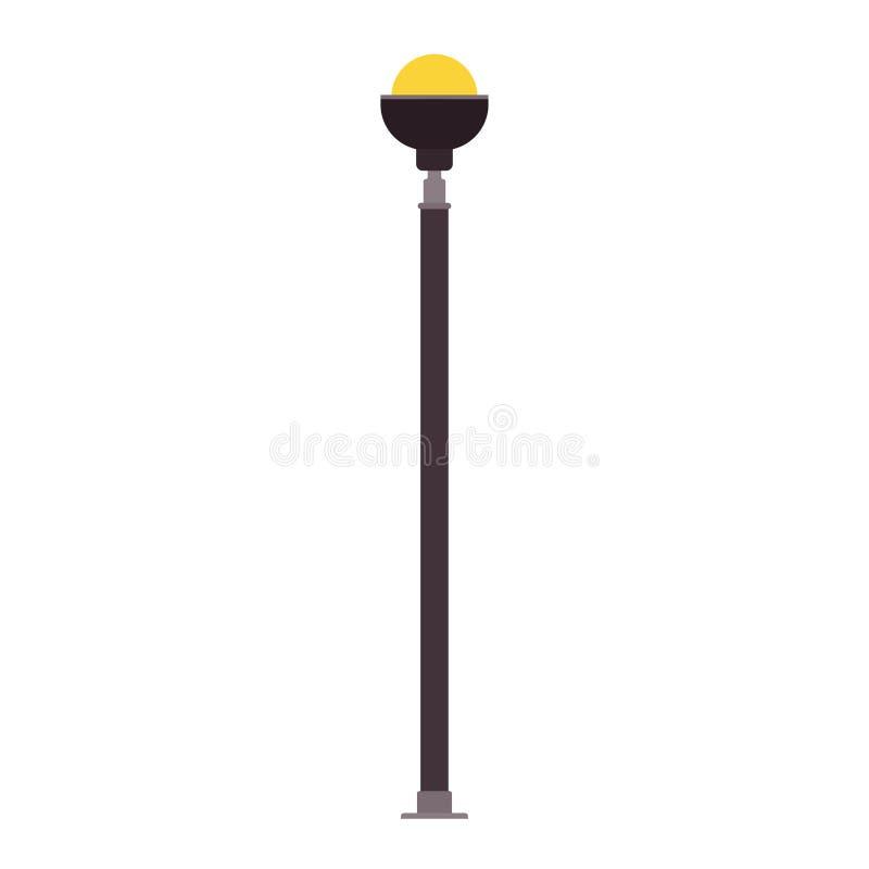 La progettazione dell'icona di vettore dell'iluminazione pubblica ha isolato bianco Siluetta della citt? della lanterna della lam illustrazione vettoriale