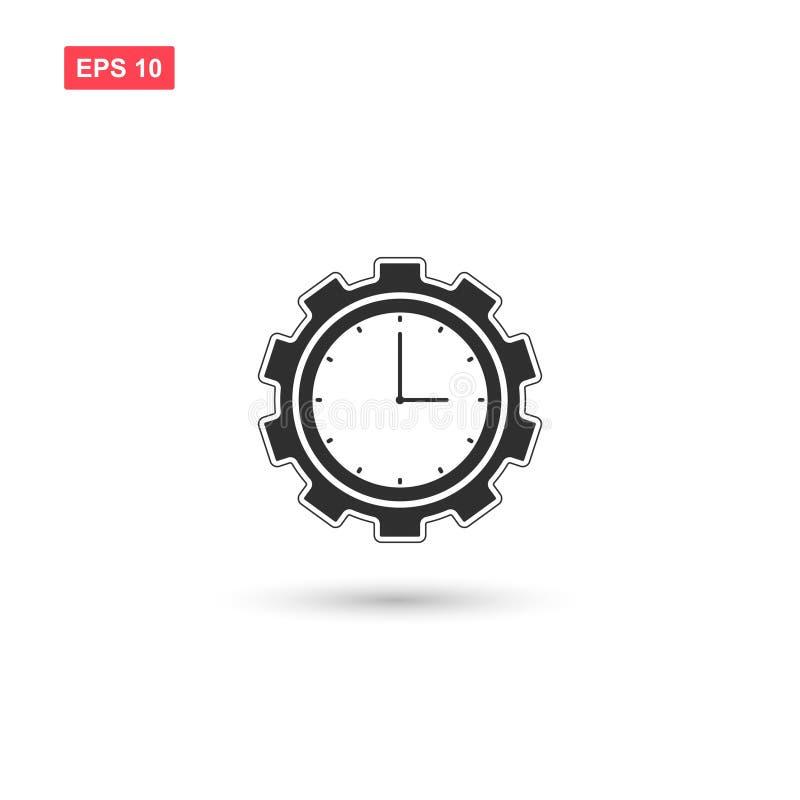 La progettazione dell'icona di vettore dell'ingranaggio dell'orologio ha isolato royalty illustrazione gratis
