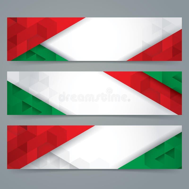 La progettazione dell'insegna della raccolta, bandiera italiana colora l'insegna del fondo illustrazione vettoriale