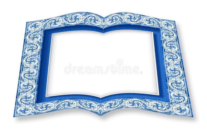 La progettazione della pagina con le decorazioni portoghesi tipiche ha chiamato i azulejos - immagine di concetto della rappresen illustrazione vettoriale
