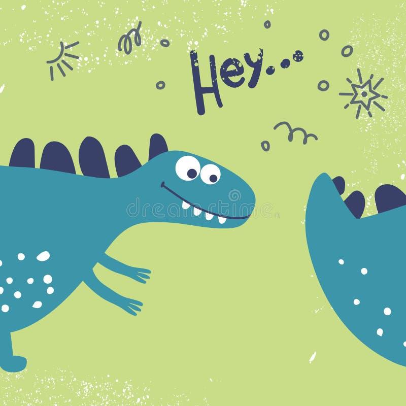 La progettazione della testa e della coda dei dinosauri al modo, ai tessuti, alle cartoline ed ai libri dei bambini Il dinosauro  illustrazione di stock