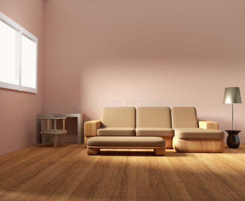 La progettazione di legno interna della stanza della mobilia e del salone in 3D rende l'immagine illustrazione di stock
