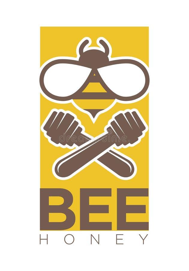 La progettazione di logo del miele dell'ape con due ha attraversato i merli acquaioli e l'insetto illustrazione di stock