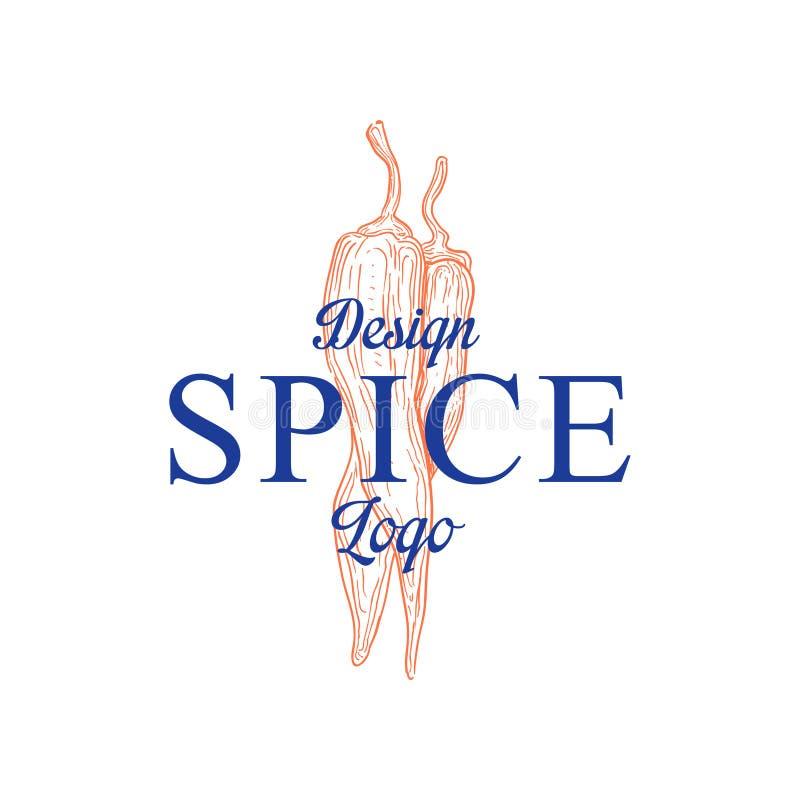La progettazione di logo della spezia, distintivo può essere usata per culinario, i cosmetici, il menu, il ristorante, il negozio illustrazione vettoriale