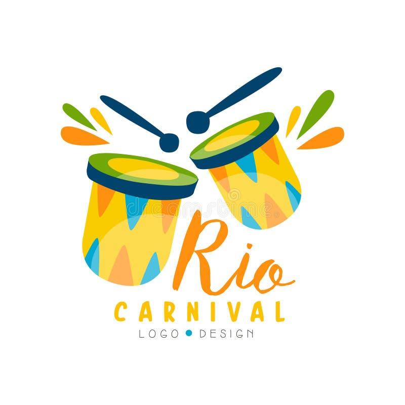La progettazione di logo di Rio Carnival, l'insegna festiva luminosa del partito o il manifesto con i tamburi vector l'illustrazi illustrazione vettoriale