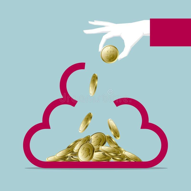 La progettazione di massima finanziaria, una mano che tiene la moneta del dollaro, ha messo nel simbolo della nuvola royalty illustrazione gratis