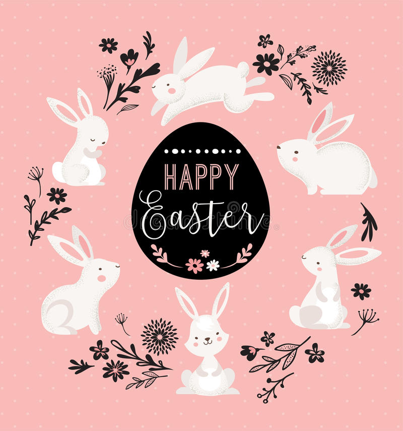 La progettazione di Pasqua con banny sveglio e manda un sms a, illustrazione disegnata a mano illustrazione di stock