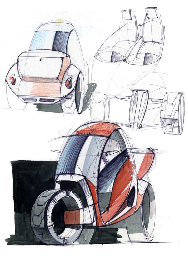 La progettazione di schizzo è un progetto compatto esclusivo dell'automobile elettrica per la città fotografia stock