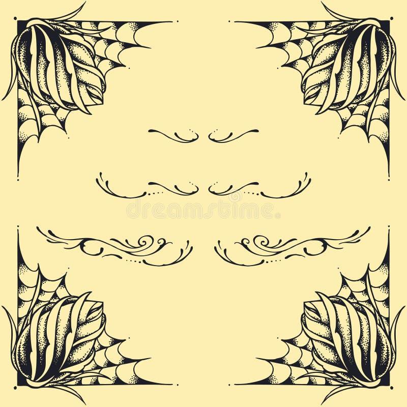 La progettazione di stile del tatuaggio di oldskool della struttura delle rose ha messo 02 illustrazione vettoriale