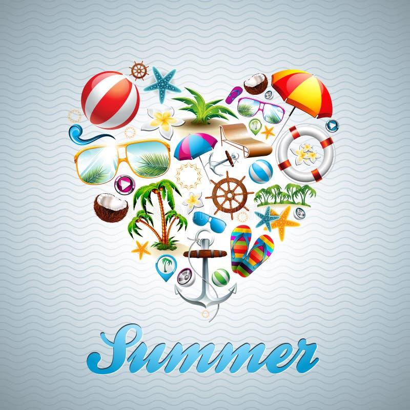 La progettazione di vacanza estiva del cuore di amore di vettore ha messo su wav royalty illustrazione gratis