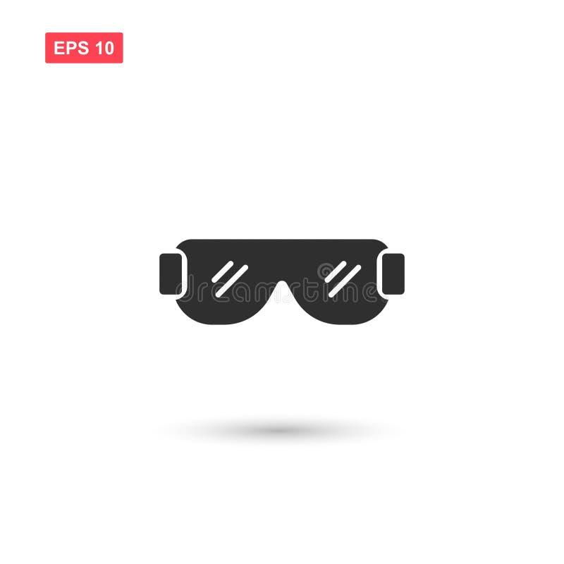 La progettazione di vettore dell'icona degli occhiali di protezione ha isolato 2 illustrazione di stock